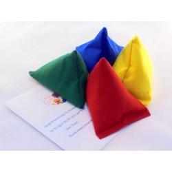 Tri-it Bean Bag 4er-Set zum Jonglieren in rot-blau-gelb-grün mit Jonglieranleitung für Anfänger