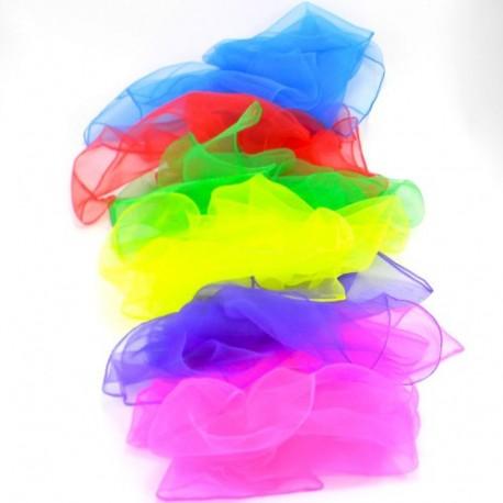 5 x Jongliertücher Zaubertücher Tanztücher Gymnastiktücher Dekotücher bunt (weiss, 2 x orange, lila, rot)